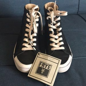 Frye Kira High Top Sneakers, Size 8.5, Black, NWT